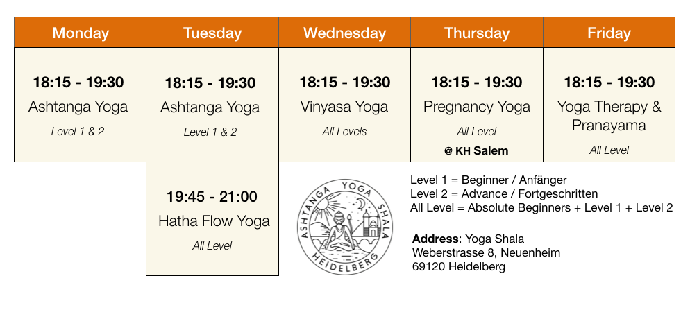 Yoga Heidelberg - Yoga Classes Schedule
