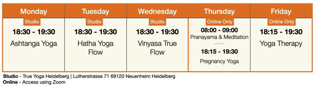 True Yoga Heidelberg Kursplan